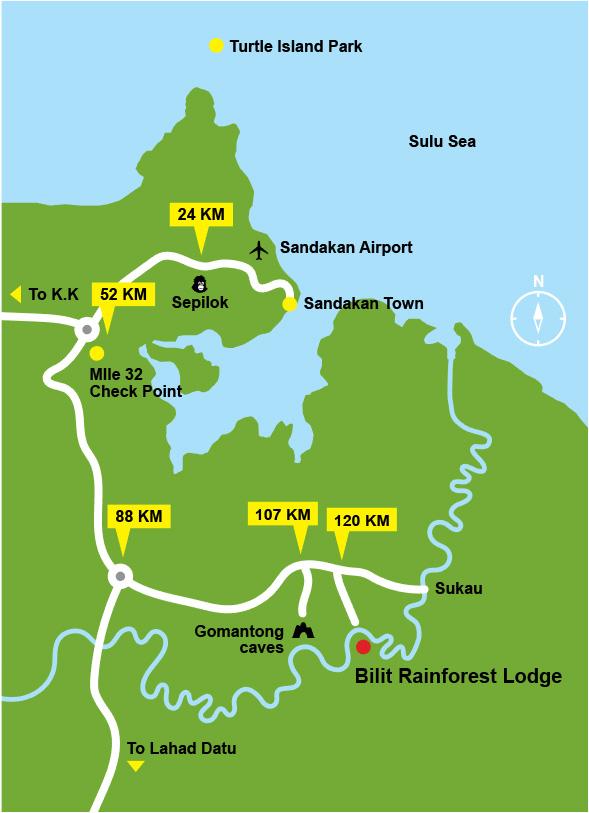 Location Map Bilit Rainforest Lodge Official Website